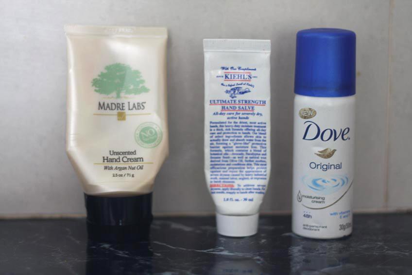 Madre Labs Hand Cream, Kiehl's Ultimate Strength Hand Salve, Dove Original deodorant