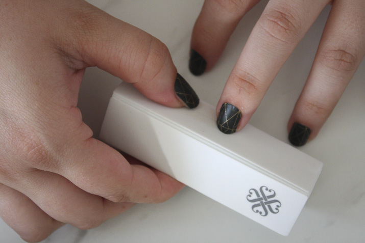 Buffing Jamberry nail wraps by Lena Talks Beauty