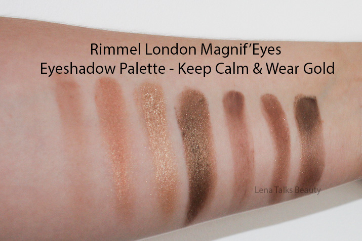 Rimmel Magnif'Eyes Keep Calm and Wear Gold swatches - Lena Talks Beauty