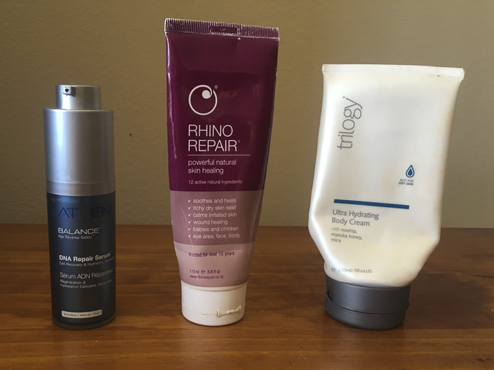 Atzen DNA repair serum, Oasis Beauty rhino repair, trilogy body lotion - lena talks beauty