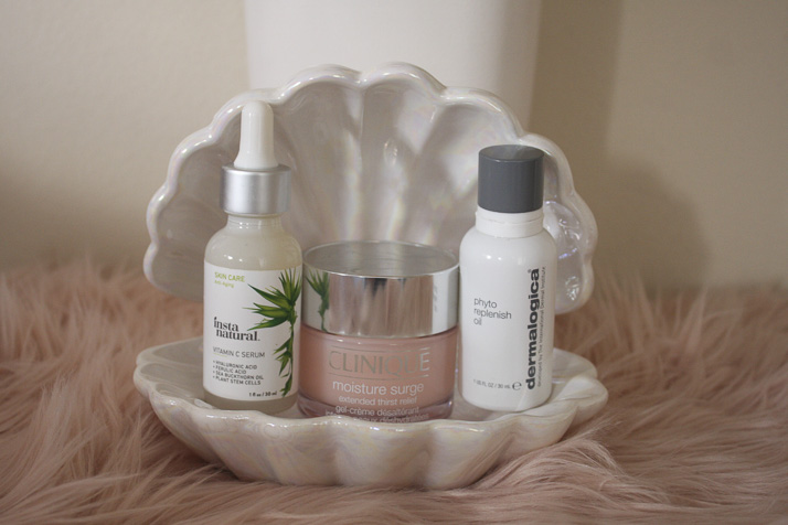 InstaNatural Vitamin C Serum, Clinique Moisture Surge, Dermalogica Phyto Replenish Oil - by Lena Talks Beauty