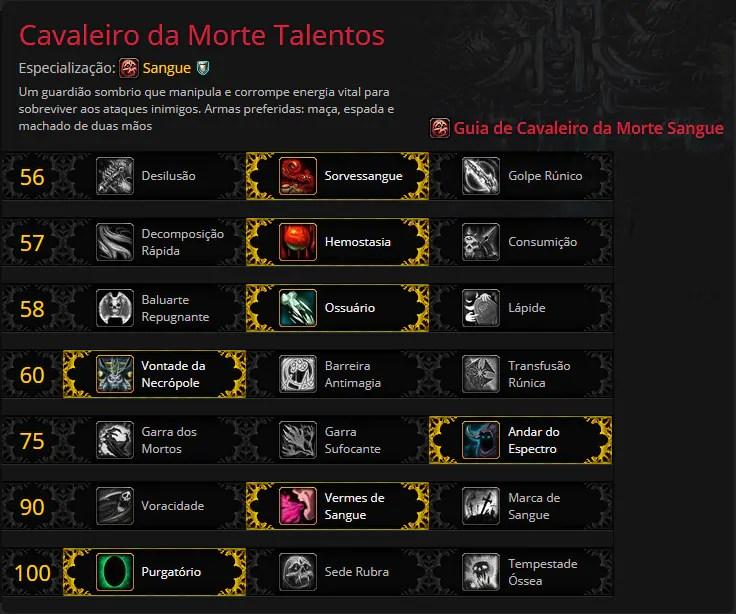 Talentos Cavaleiro da Morte de Sangue | World of WarCraft, WarCraft, wow, azeroth, lore