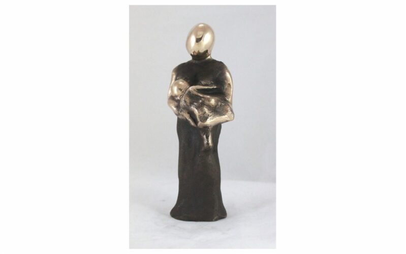 Bronzeskulptur Mor med lille barn gaven til barnedåb, nyfødt, barselsgave