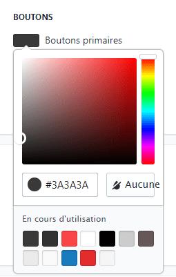 sélection de la couleur pour changer la couleur du bouton ajout au panier