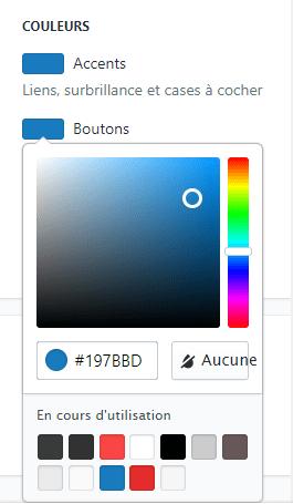 sélection pour changer la couleur des boutons du checkout