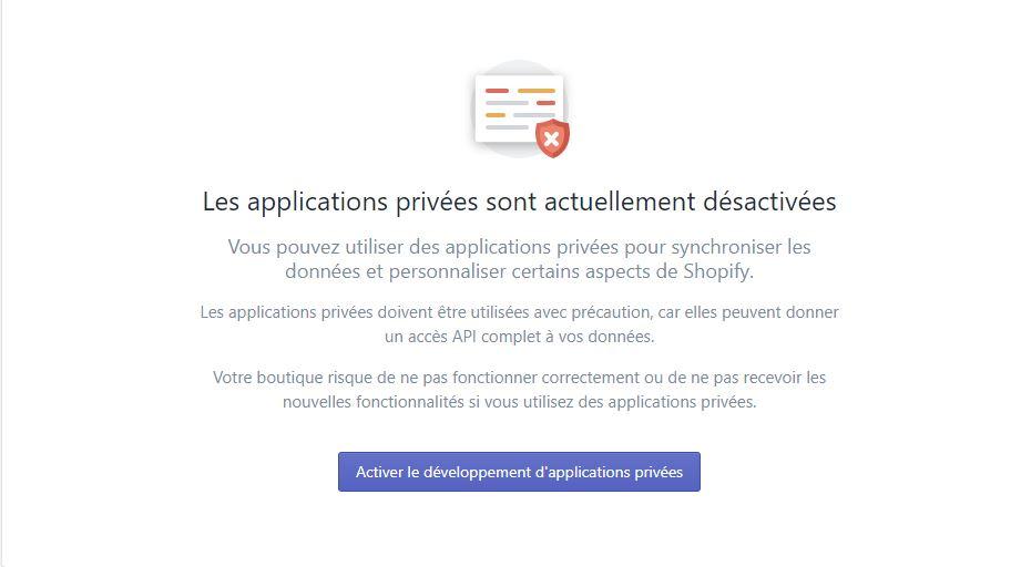 Création d'une application privée pour checkout X