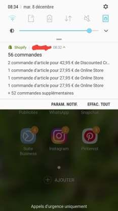 beaucoup de notifications de commandes sur shopify