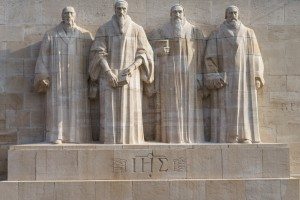 Reformation Wall,Geneva. From left: William Farel, John Calvin, Theodore de Beze and John Knox.