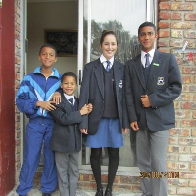 Andrina with her new brothers, Budroodeen, Moneeb and Ies'Raa'Fiel