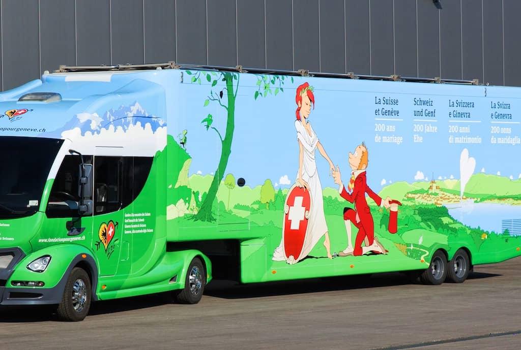 Geneva bus on tour