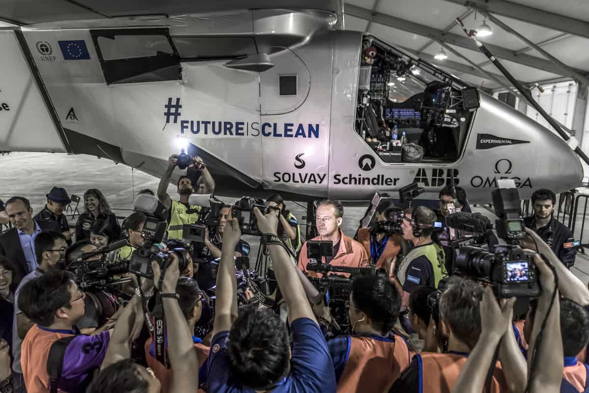 André Borschberg  pilot)  in front of the media before boarding  Successful take off from China bound for Hawaii - Copyright Solar Impulse