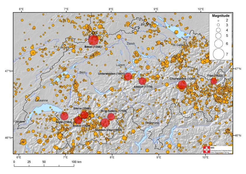 Swiss earthquake history