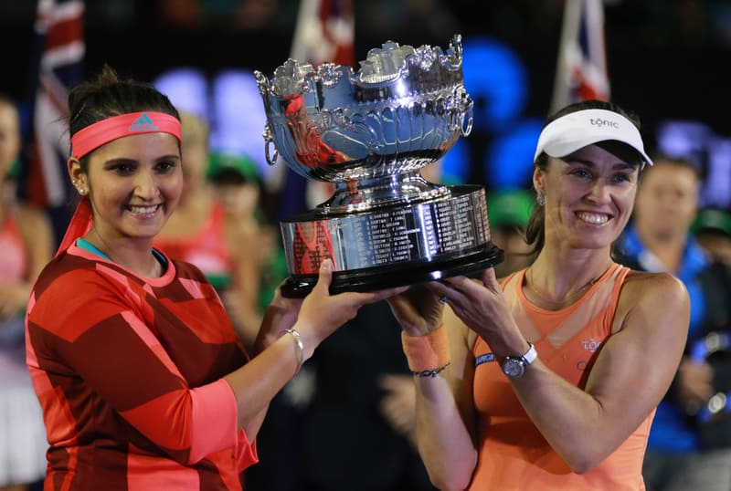 Martina Hingis and Sania Mirza pictured together after grand slam success