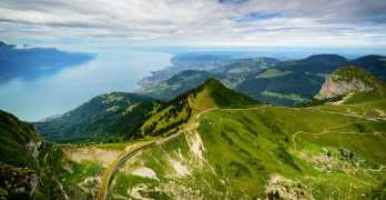 Giant grass fresco painted at Rocher de Naye above Montreux