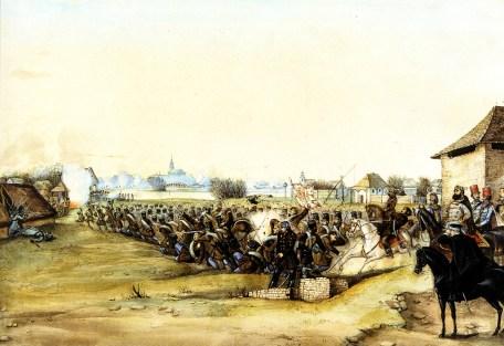 """""""A második szolnoki ütközet 1849. március 5-én"""" (pol. """"Druga bitwa pod Szolnokiem 5 marca 1849 r.""""), Mór Than"""