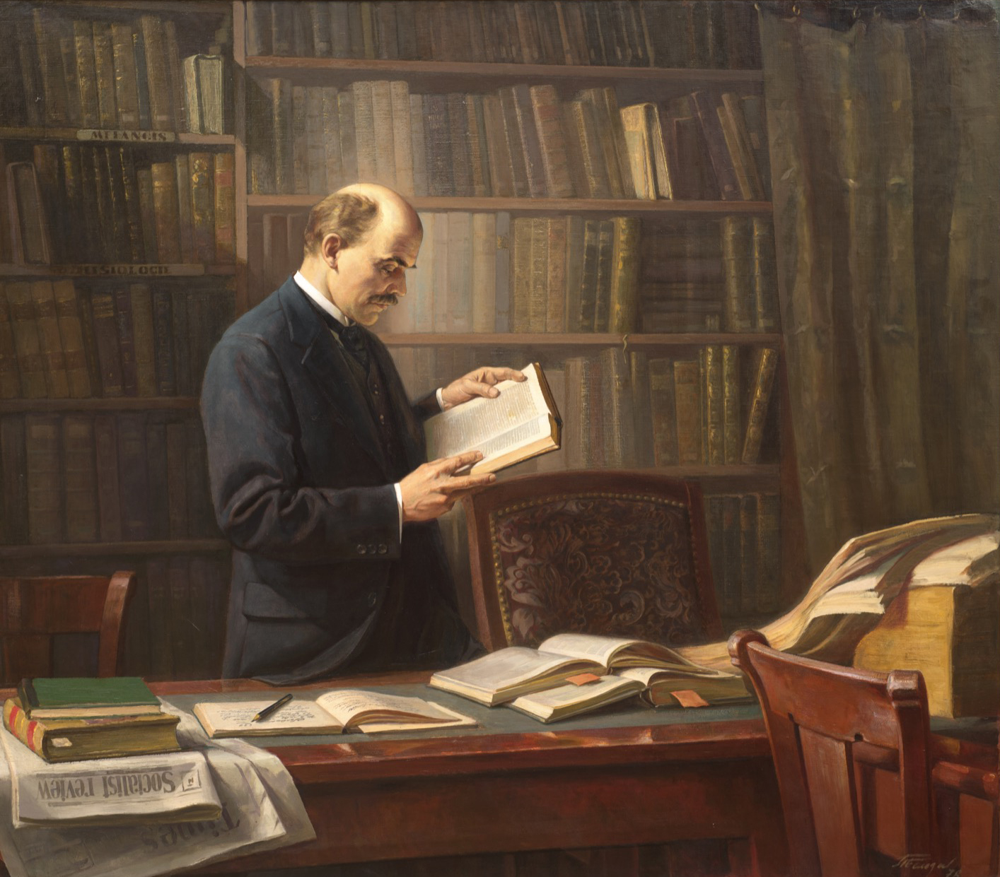 """""""Lenin is working on the book """"Materialism and Empirio-criticism"""" in the Geneva Library"""""""