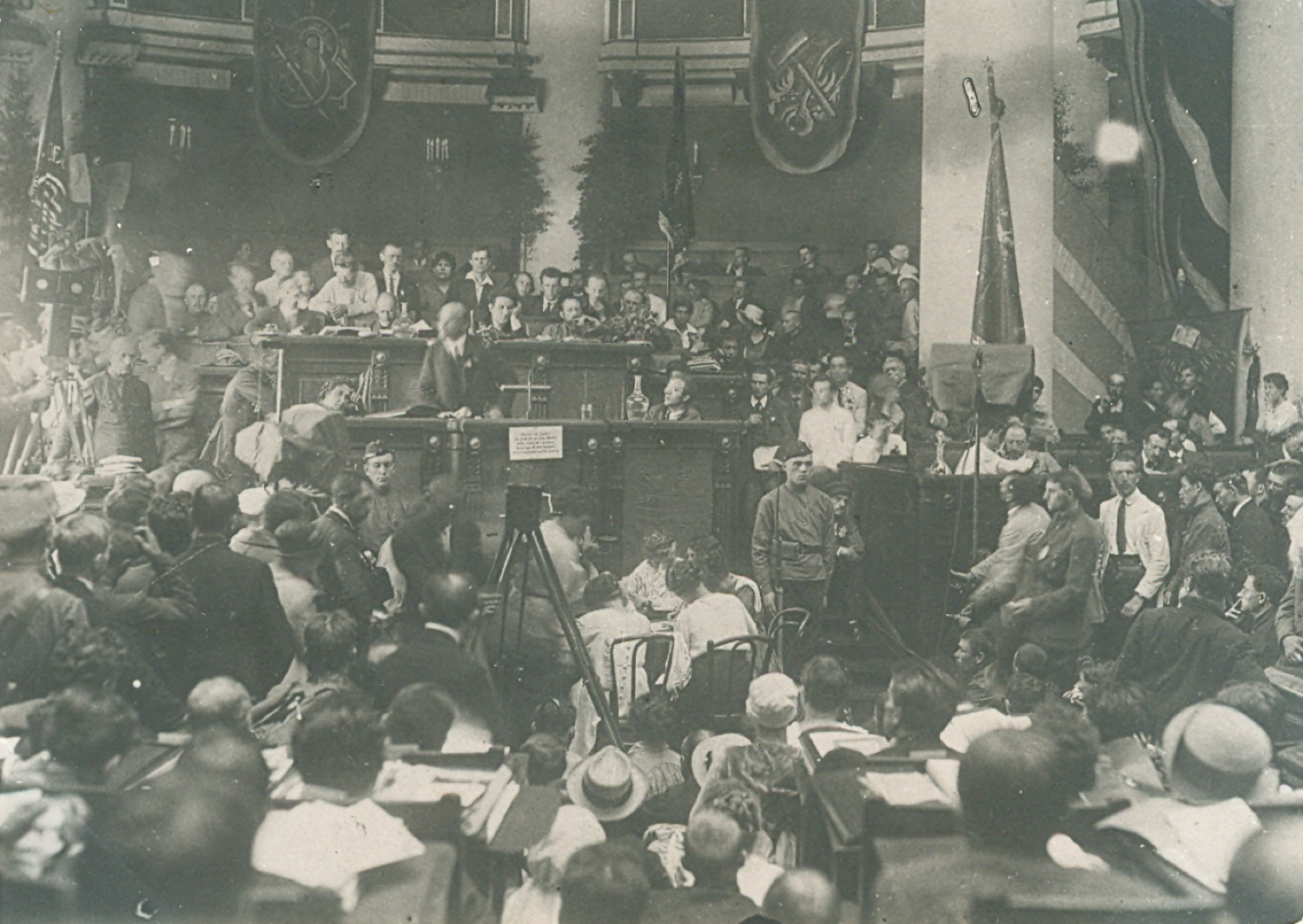 Photo. V. I. Lenin delivers a report on the international situation and the main tasks of the Communist international at the opening ceremony of the Second Congress of Comintern in the Uritsky (Tavrichesky) Palace.  RSFSR, Petrograd. July 19, 1920.