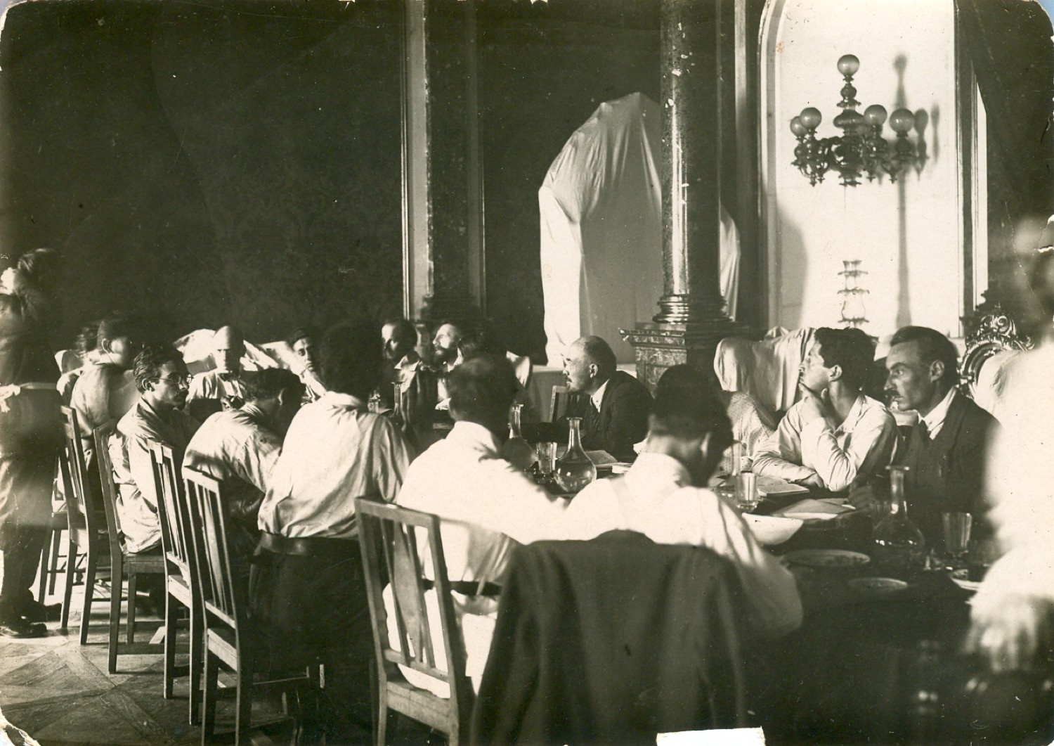 V. I. Lenin in the Kremlin at the session of one of the commissions of the Second Congress of Comintern.