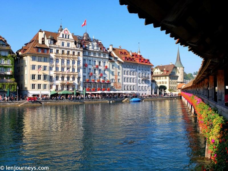 Through the Chapel Bridge in Lucerne