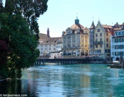 Buildings on the bank of Reuss River in Lucerne