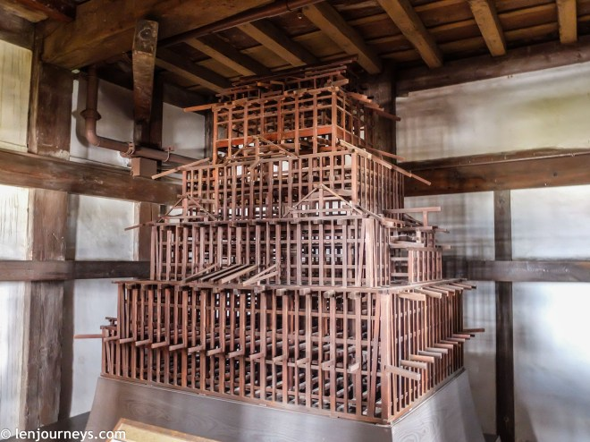 The wooden frame of the main keep