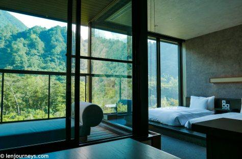 Bedroom and living room at Hoshinoya Guguan