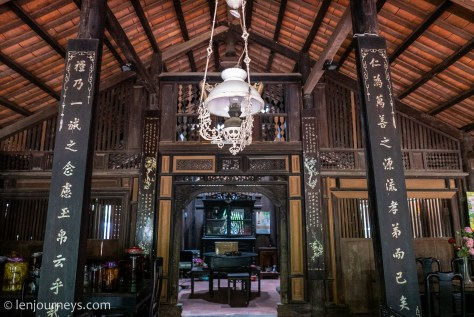 The wooden interior of Mr. Kiet Old House, Mekong Delta