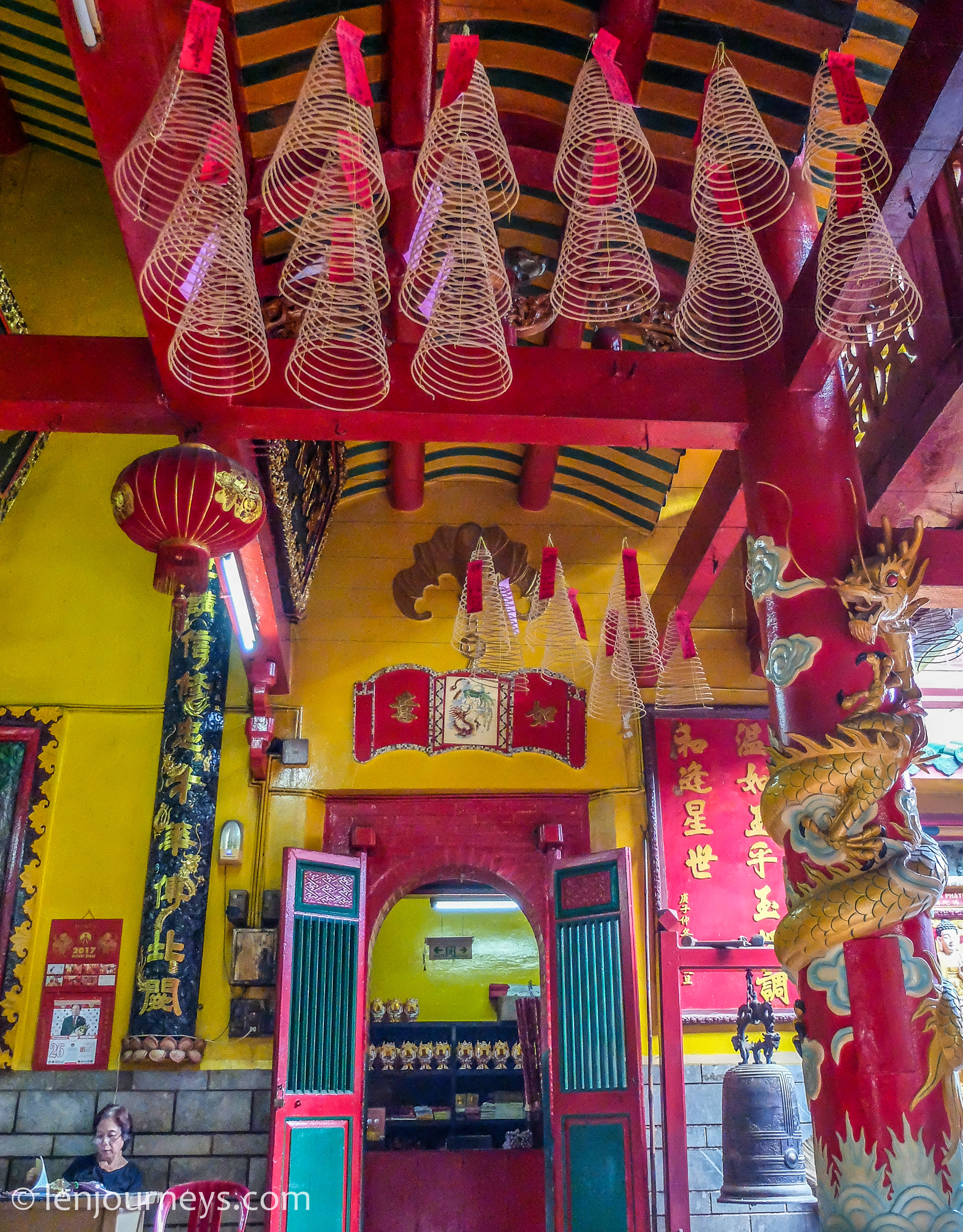Vibrant entrance of a Chinese temple in Saigon
