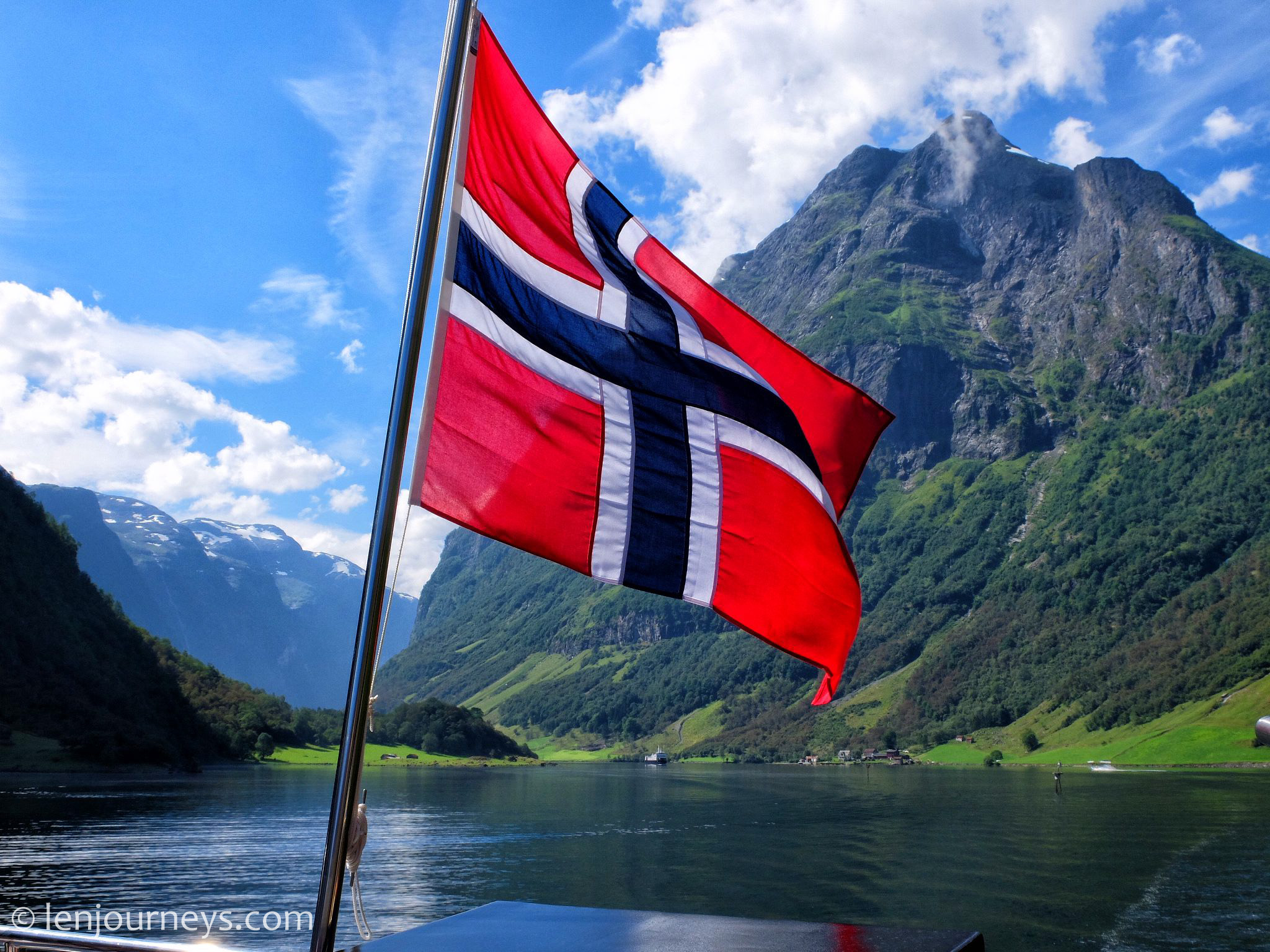 Norway's flag in Nærøyfjord