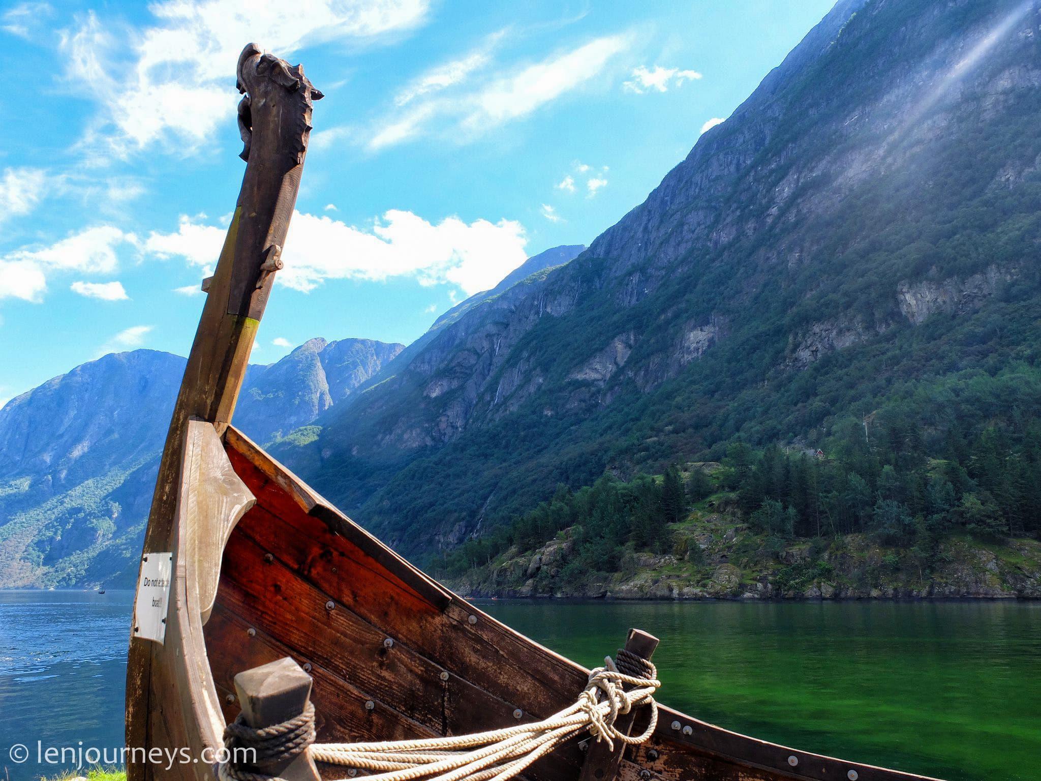 Viking ship in Nærøyfjord