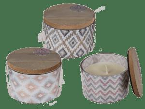 vonné svíčky s dřevěným víčkem