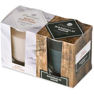 Vonné svíčky Emocio 2 ks Soft Cotton & Sandalo Noir