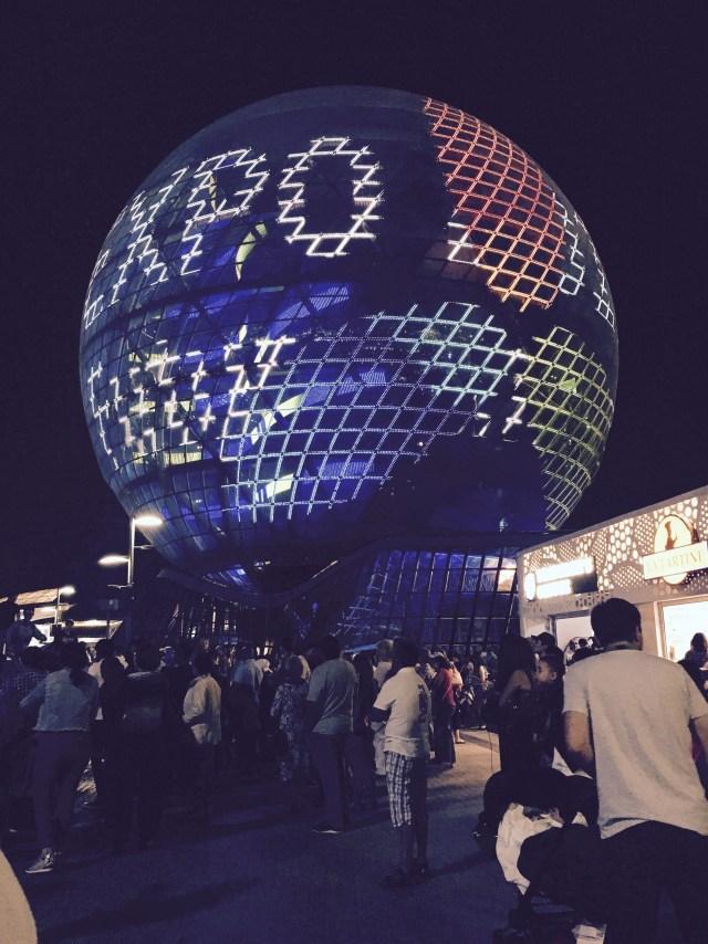 nočná projekcia na kazašskom pavilóne, EXPO 2017, Astana, Kazachstan