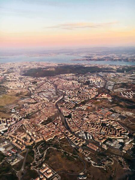 pohľad z lietadla, Lisabon, Portugalsko