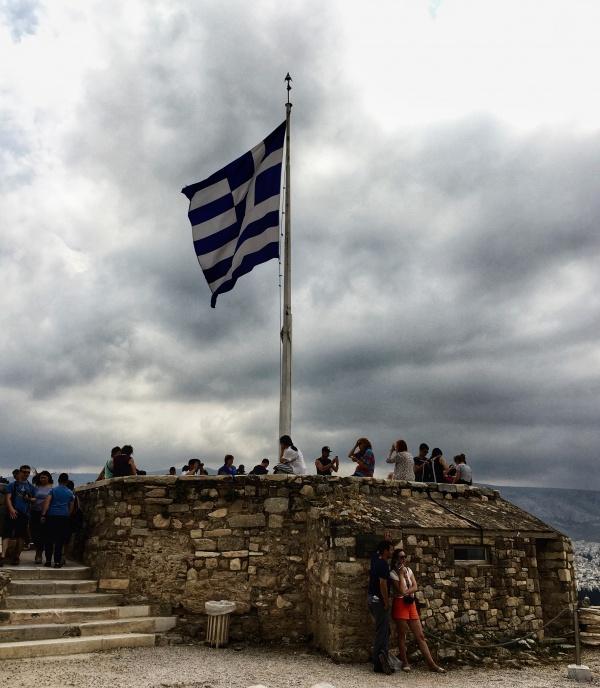grécka vlajka, Akropola, Ateny, Grecko
