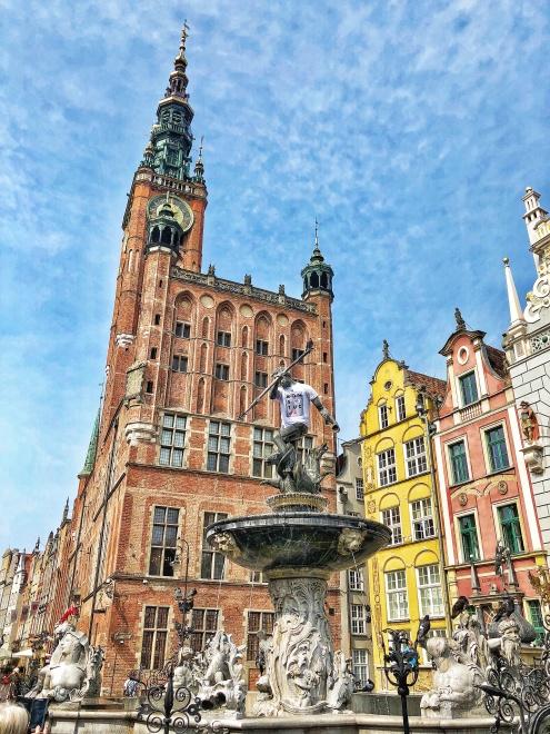 Neptúnova fontána, Mestská radnica, Gdansk, severné Poľsko