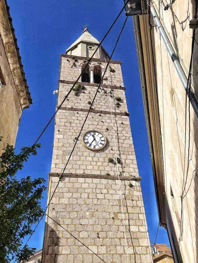 zvonica v meste Vrbnik, Krk, Chorvátsko
