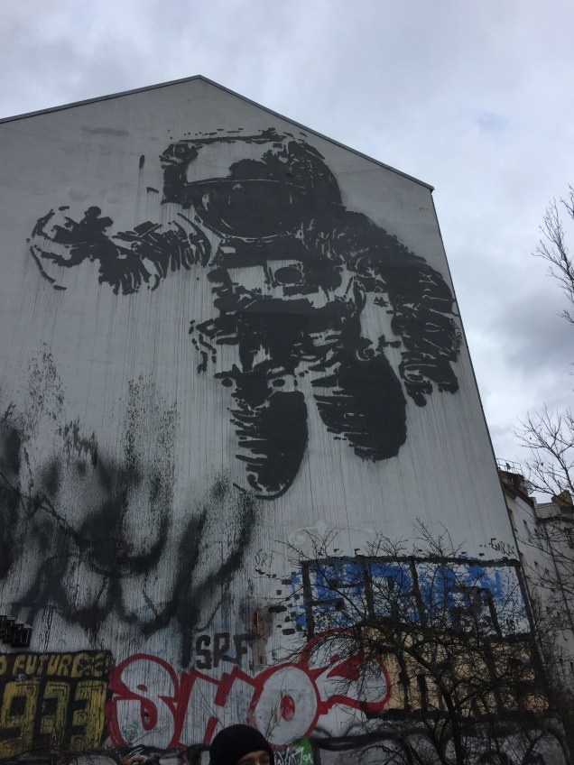 """Astronaut Cosmonaut,"" a famous painting by graffiti artist Victor Ash commissioned by the city of Berlin"