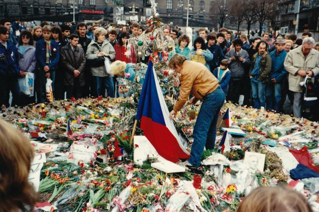 Václav Havel honoring the deaths of those who took part in the Prague protest in 1989