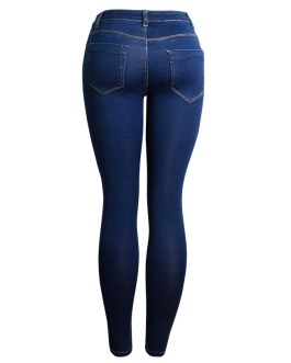 New Spring Autumn Knee hole Beading Pearl Jeans Women Stretch Skinny Denim Pants Casual Slim Fit Rivet Jeans