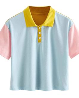 Women fashion OEM custom Half Button short sleeve crop top polo shirts