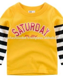 Custom Logo Kids Autumn Clothes Good Quality Cotton Baby Clothing Boys Long Sleeve T-Shirt made in Bangladesh