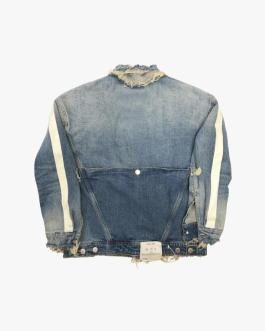 Custom Logo High Quality Classic Men's Blue Ripped Washed Denim Jacket