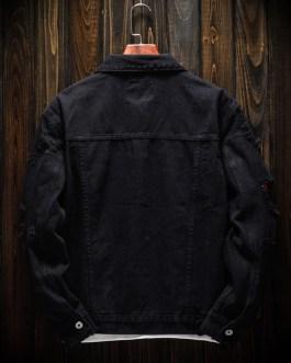 New Fashion Plain Washed Cotton Casual Black Men's Denim Jeans Jacket Collection