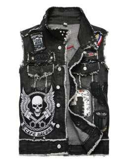 Custom Patchwork Design Hip hop Streetwear Mens Denim Jeans Jacket Collection