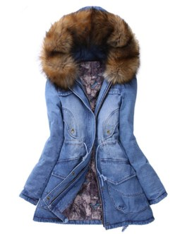 Latest Winter Women Coat With Fur Collar Long Sleeve Hooded Denim Jeans Coat Collection