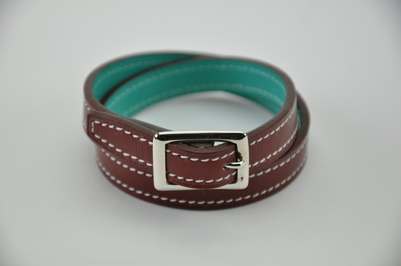 Bracelet red calf and turquoise. For woman or man. Fashion accessories Made in France