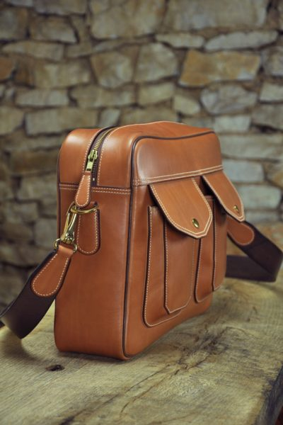Luxury leather bag for man. Fashion and chic leather goods. Made in France