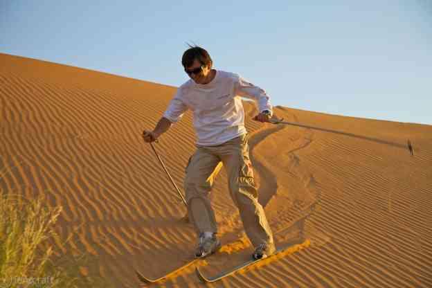 dune skiing / erg chebbi, morocco