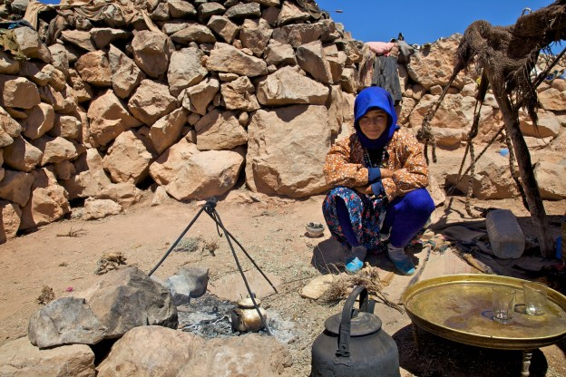 brewing tea for guests / atlas mountains, morocco